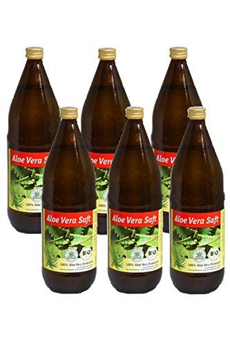 Bio Aloe Vera Saft, 100 % Direktsaft in der Glasflasche, 6 x 1000ml