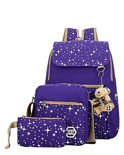 YiLianDa Tela Zaino Casual Scuola Zaini Donna Ragazza Canvas Backpack Zainetto 3 in 1 Viola