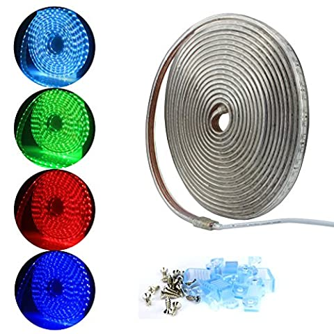 ALED LIGHT® 5050 LED Strip Leiste LED Streifen LED Band , Wasserdicht ,220V,60 Leds pro Meter. Ideal für Garten, Haushalt, Küche, unter Kabinett, Auto, Bar, Mond, DIY Verzierung Lighting [Energieklasse A++]