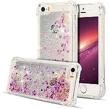 Funda iPhone 5 / iPhone 5S, Carcasa iPhone 5S Funda Transparente Bumper Glitter Sparkle Líquido Quicksand Silicona Funda Dinámico Sparkle Estrellas Cubierta Goma Flexible Bling Bling Suave Gel Protectora Carcasa Caso [Shock-Absorción] [Anti-arañazos] para iPhone 5 / iPhone 5S (4.0 pulgadas) - Oro