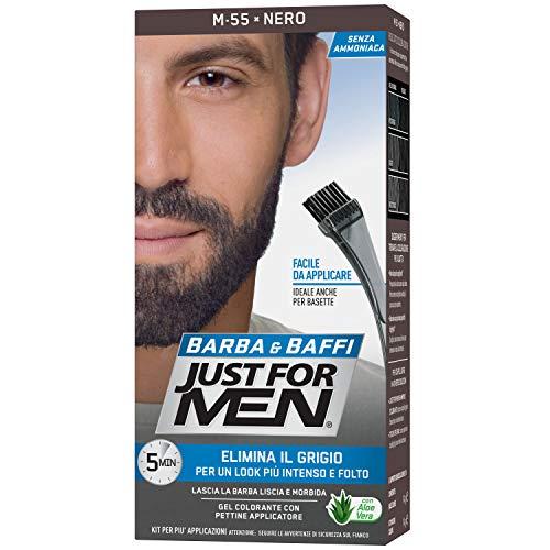 Just for Men Barba & Baffi, M55 - Nero, Gel Colorante con Pettine Applicatore, Elimina il Grigio per un Look più Intenso e Folto