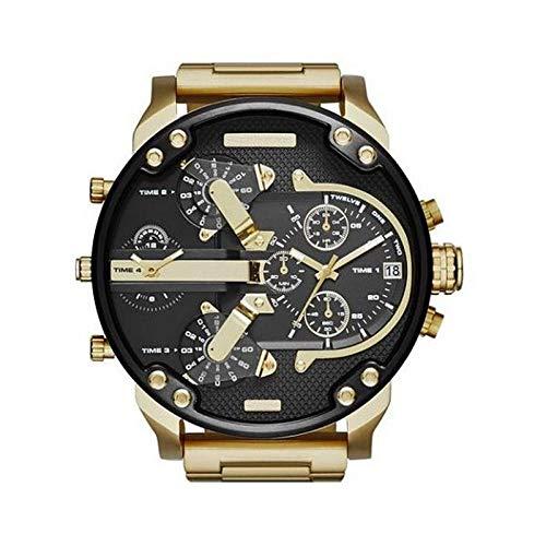 Quarzuhr Uhrenpersönlichkeit Große Beiläufige Quarzfreizeitquelle Schwarzer Oberteilgoldgürtel
