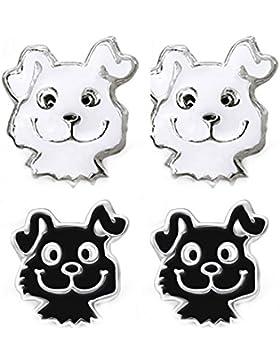 SL-Silver 2 Paar Kinderohrringe Set frecher Hund 925 Silber in Geschenkbox