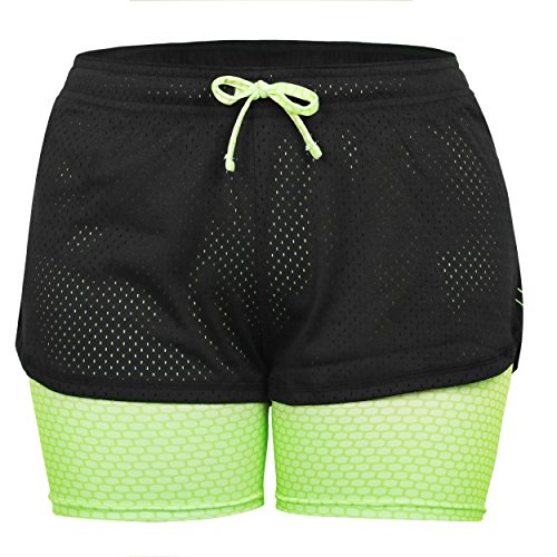Eizur 2 in 1 Damen Shorts Kurze Hosen Sport Shorts Yoga Fitness Running Hot pants Yogahose Sporthose Trainingshose Jogginhose Pants Stretch Short Size M-Grün (Shorts Yoga Laufen)