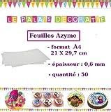 Paquet de 50 FEUILLES AZYME A4 Impression alimentaire pour la réalisation de décors comestibles pour tous types de pâtisseries