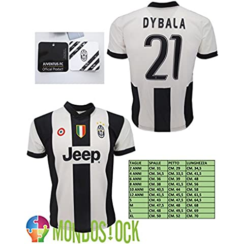 Camiseta Fútbol, modelo Juventus Paulo Dybala 21, réplica oficial, temporada 2016–2017, blanco-negro, 10