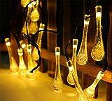 20 Solar LED Lichterkette Garten WarmWeiss Cristal Wassertropfen für Außen Party Hochzeit von Uping