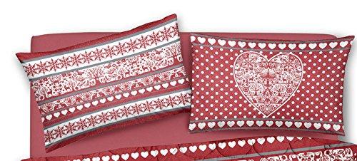 Coppia di federe double cuore cuori rosso tirolo (da un lato disegno cuoricini fiocco di neve dall'altro lato disegno cuore grande) - in cotone italiano - prodotto di qualità federa offerta promozione