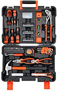 Black+Decker 154 Pieces Hand Tool Kit for Home & Office Use, Orange/Black - BMT154C, 2 Years Warr