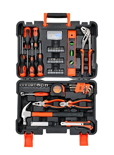 Black Plus Decker BMT154C Professional Hand Tool Kit (Orange and Black, 154-Pieces)