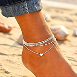 Dailyinshop Love Multi-Layered Anklet Fashion Decoration Regalo para Mujer Preresent (Color: Plata)