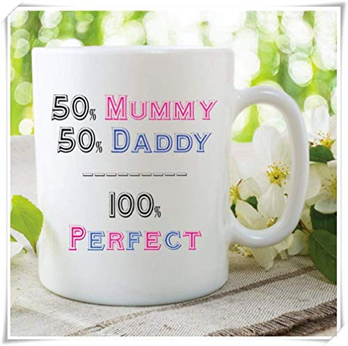 WYYCLD - Mummy Daddy Perfect Mugs, Fathers Day Mothers Day Gifts, 11oz Ceramic Coffee Mug, Unique Gift 12 Oz White Foam Cups