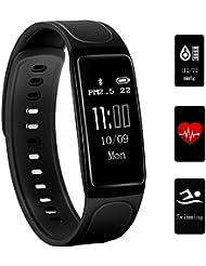 Fitness Tracker, Teetox 0.96Inch OLED Fitness Armbänder mit Pulsmesser Smart Wristband Schwimmen Aktivität Tracker Smart Armband mit Step Kalorienzähler / Schlaf Monitor für iPhone Android,Schwarz
