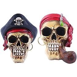 B Blesiya Adornos Resina Cráneo Estatuilla Decor Fiesta Temática Party 2 Pedazos