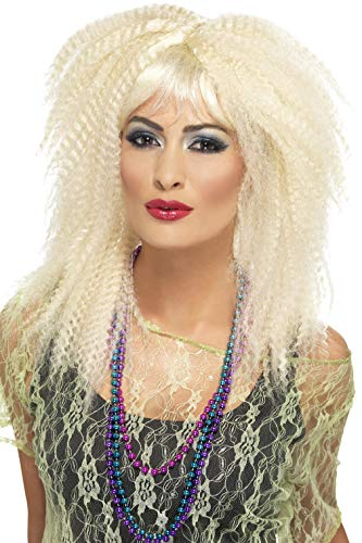 Blonde Fever Perücke Kostüm - Smiffys, Damen 80er Jahre Locken Perücke, One Size, Blond, 23160