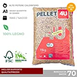 Pellet 4U scuro 100% legno - Pellet stufa qualità DIN/EN PLUS A1 - Alto potere calorifero (70)