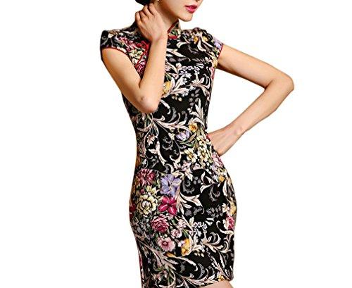Luck Qipao Robe Asiatique Femme Impression Manche Courte en Polyester Couleur 1
