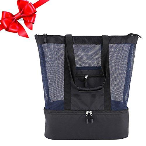 Casefashion Strandtasche mit Wasserdichter Kühlfach Hoch Kapazität Reißverschluss Größenangabe 51 x 41 x 17 CM, 360g Ideal für Reise oder Ausflug mti Kindern Beachbag Urlaubstasche(Schwarzblau) -