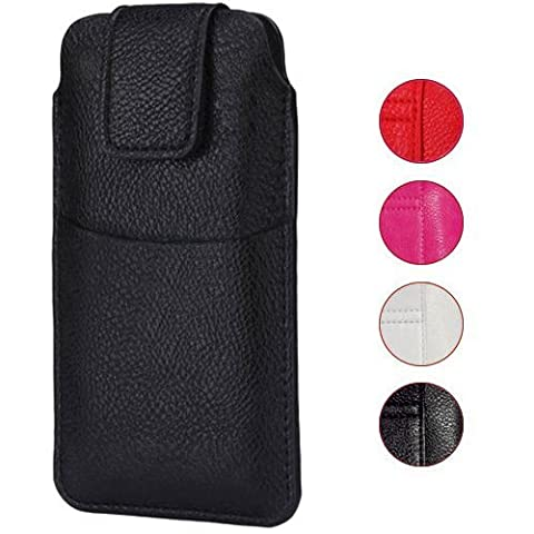 COVER CASE POUCH FOR SMARTPHONE - BLACK - UNIVERSAL FAUX