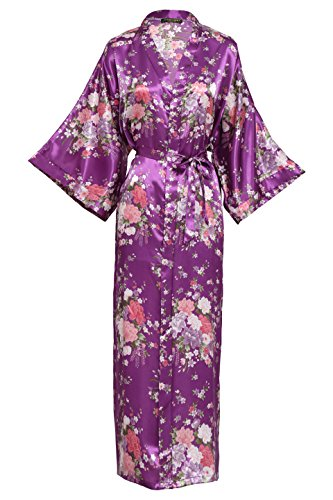 BABEYOND Damen Morgenmantel Maxi Lang Seide Satin Kimono Kleid Blütenkirsche Muster Kimono Bademantel Damen Lange Robe Blumen Schlafmantel Girl Pajama Party 135 cm Lang (Dunkelviolett)