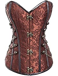 Women's Steampunk Full Steel Boned Strapless Palace Corset Bustiers with Chains Plus Size