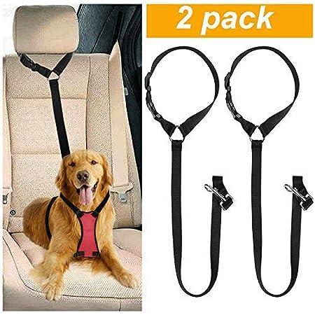 CGBOOM Universal Hunde Sicherheitsgurt fürs Auto Kopfstütze, Multifunktions Verstellbar Hundegurt Sicherheitsgeschirr…