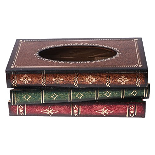 BIlinli Retro Style Book Shape Wooden Print Tissue Box Bathroom Vanity Home Decoration - Style Vanity Set