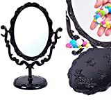JuanYa Gothic Black Butterfly Rose Makeup Mirror, Desktop Vanity Mirror, Small Size