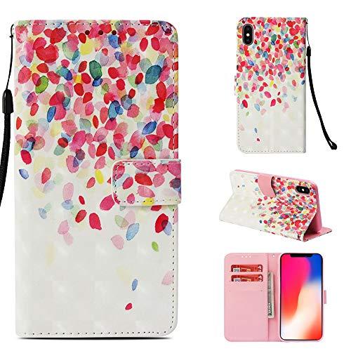 MSOSA iPhone X/XS Hülle, Premium 3D Gemusterte PU Ledertasche Flip Hülle für iPhone X/XS_Blütenblatt -
