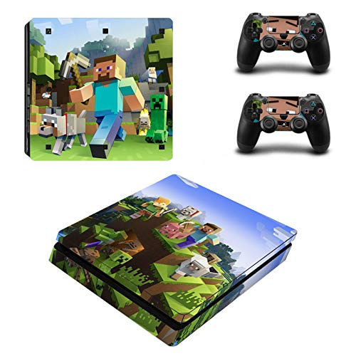Funky Planet Playstation 4 Pro Slim PS4 PRO PS4 SLIM Adesivi per pelli in PVC per console e pastiglie - Ridimensionare il tuo PS4 Pro PS4 Slim (Slim, minecraft)