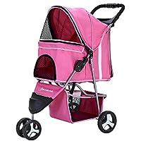 XIAOLONG Panana Hundewagen mit 3-Rad-Buggy für Hunde und Katzen Pet Roadster 70x45x99 cm -Rosa