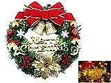 LED 35cm Weihnachtskranz beleuchtet batteriebetrieben große Kranz Tür Wand Verzierung, rote Bowknot Blumengirlande Dekoration,Türkranz Adventskranz