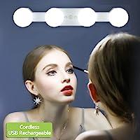 LED Lumières de Maquillage, Hollywood Kit de Lampe de Cosmétique Miroir Rechargeables Portables Sans fil, 4 Ampoules…