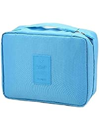 Italish Portable Waterproof Multi Pouch Travel Toiletry Cosmetic Bag With Handle -Sky Blue