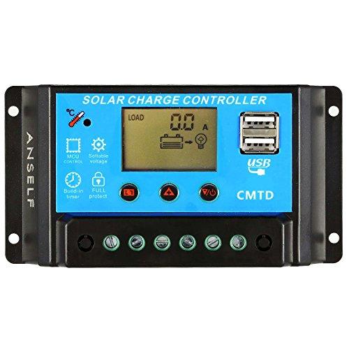 Anself 12V / 24V del regolatore della carica LCD solare con attuale funzione di visualizzazione automatica Regolatore per pannello di batteria solare della lampada Protezione sovraccarico