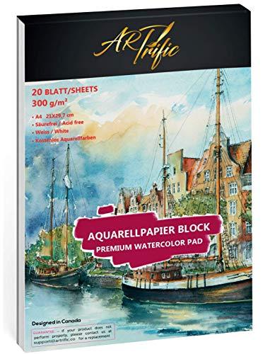 Aquarellpapier A4 - 300 g/m² - 20 Blatt Watercolour Paper - inkl. Aquarellfarbe + Pinsel - Skizzenbuch DIN A4 Aquarellblock - kaltgepresst - Watercolour Pad ideal für Aquarell- und Mischtechnik