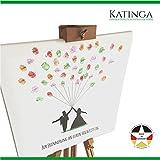 Leinwand zur Hochzeit - Motiv BRAUTPAAR MIT BALLONS mit Spruch - als Gästebuch für Fingerabdrücke (40x40cm, inkl. Stift + Stempelkissen)