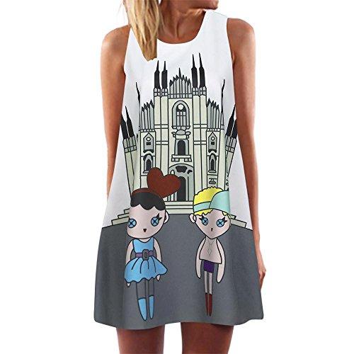 VEMOW Damenkleider Vintage Boho Frauen Sommerkleider Sleeveless Strand Gedruckt Kurzes Minikleid Eine Linie Abendkleid Täglich beiläufige Partei Weste T-Shirt Kleid Plus Size(Mehrfarbig 3, EU-44/CN-L) (Folie Elasthan)