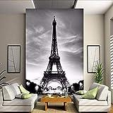 Yologg Papier Peint Photo En Relief 3D Tour Eiffel Paris Ville Nostalgie Mur Gris Contact Papier Pour Salon Tv Canapé Toile De Fond-150X120Cm