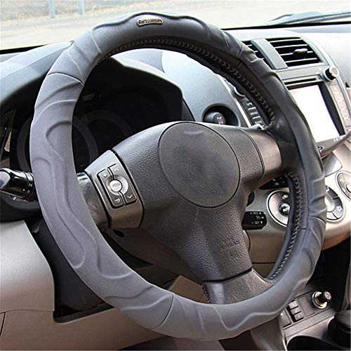 Faux-leder-mikrofaser-polsterung (Mgcdd-Car Steering Wheel Cover Lenkradbezug Aus Mikrofaser-Leder, Weiche Polsterung Rutschfester, Langlebiger Komfortgriff Vier Jahreszeiten Universal,Gray,40cm)