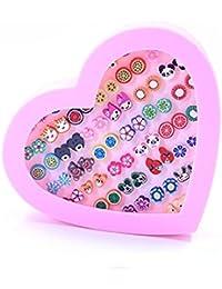 Uhat® Boucle d'oreille Coffre Fille Boîte Rose Coeur 36 Paires Fleurs Animal Boucle d'oreille Anti-allérgie