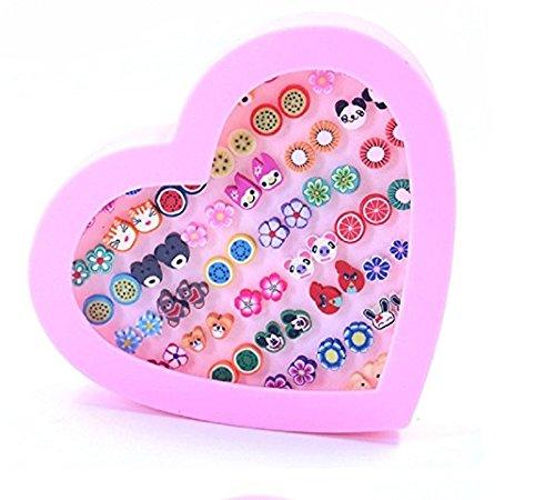 Uhat® Boucle d'oreille Coffre Fille Boîte Rose Coeur 36 Paires Fleurs Animal Boucle d'oreille Anti-allérgie Uhat®