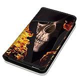 Hülle Galaxy S7 Hülle Samsung S7 G930F Schutzhülle Handyhülle Flip Cover Case Samsung Galaxy S7 G930F (OM1062 Totenkopf Skull Flammen Gelb Schwarz)