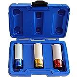 S&R Set de Douilles pour Clé à Choc 1/2'.  Coffret de 3 embouts de serrage (17-19-21 mm) pour jantes de voiture. Douilles à impact en acier de chrome molybdène.