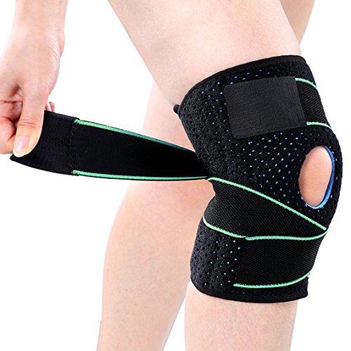Kniebandage, Knieschützer Atmungsaktiv Kniestütze Kompression Knieschutz Einstellbare Knieorthese für Sport, Schmerzlinderung von Kniescheibe und Rehabilitation (Grün) - Komfort Stoff Bandagen