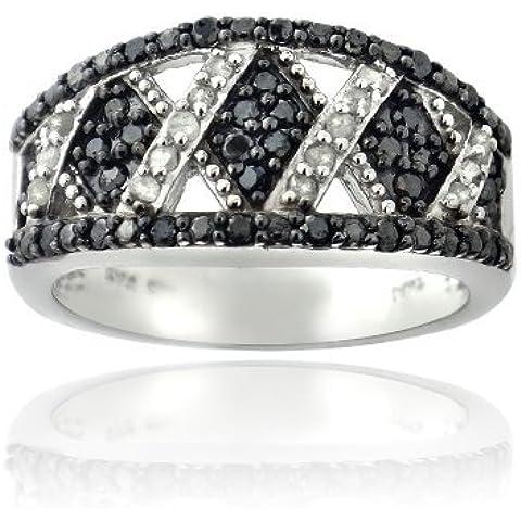 & 1/2 CT, colore: bianco nero con tonalità Criss Cross-Anello in argento - Diamante Criss Cross Anello