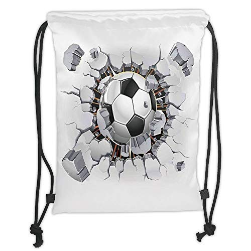 Fashion Printed Drawstring Backpacks Bags,Sports Decor,Soccer Ball and Old Plaster Wall Damage Destruction Punching Illustration, Soft Satin,5 Liter Capacity,Adjustable String Closure,The Stylish