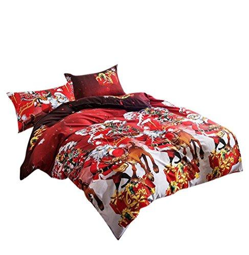 Koly La Navidad 4 PC a la hoja de cama de lino textil hogar de Navidad Juego de cama edredón de cama Fundas de almohadas,4 Colores-C