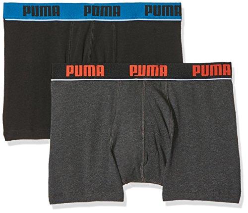 Puma Herren Basic Stripe Elastic Boxer 2p Unterwäsche black/anthracite