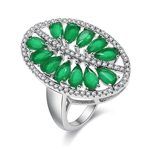 Uloveido Marquise Lab Green Peridot Rhodium plattiert Baum des Lebens Ring, Geschenke für Ihre Mutter Frau Tochter PJ100-8 (Frauen Lab Fashion Green)